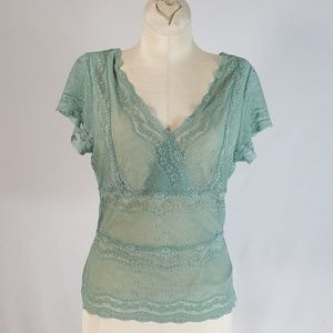 The Limited Stretch Lace Top Green Sz S V Neck